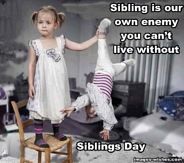 Funny Siblings Day Quotes- Sibling is our own enemy you can't live without.